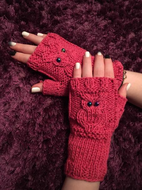 Handstulpen mit Eule-sole von Pascuali- Kaschmirwolle-Baumwolle